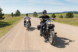 Sean Lichter and Jonathan Pite on their first ride to Sturgis during the 75th Annual Sturgis Black Hills Motorcycle Rally.  SD, USA.  August 3, 2015.  Photography ©2015 Michael Lichter.