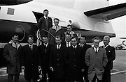 """25/04/1965<br /> 04/25/1965<br /> 25 April 1965<br /> Farmers leave on Semac tour from Dublin Airport. A group of Irish farmers set out from Dublin Airport en route to Manchester on a Semac sponsored tour of Press Button cattle feed installations incorporating """"Haylage"""" and wet barley storage in Scotland and England. Picture includes Mr. M.J. O'Leary, Castletownbeare; Mr. J. O'Doherty,  Condensed Milk Co., Knocklong; Mr. Thomas Egan, Thurles; Mr. William Fitzgearld , Thurles; Mr. Jerry Barrett, Mullinahone, Tipperary; Mr. Peter Sexton, Director Semac; Mr. Looby, Department of Agriculture; Mr. Laurence O'Reilly, Ballyragget and Mr. Dan Kennedy, Semac."""