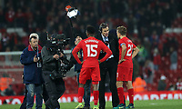 Football - 2016 / 2017 League [EFL] Cup - Fourth Round: Liverpool vs. Tottenham Hotspur<br /> <br /> Daniel Sturridge and Lucas of Liverpool are interviewed by BT Sport after the match at Anfield.<br /> <br /> COLORSPORT/LYNNE CAMERON
