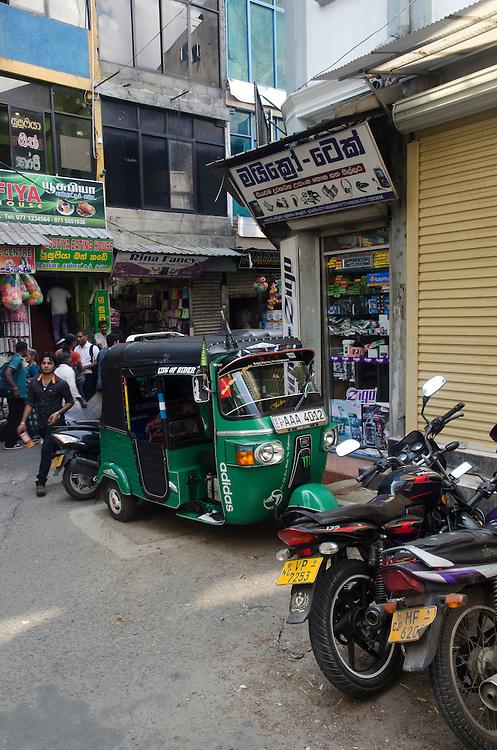 Busy street in Kandy city centre, Sri Lanka