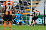 Abel Hernandez of Hull city (9) scores his teams 2nd goal past Swansea goalkeeper Lukasz Fabianski. Premier league match, Swansea city v Hull city at the Liberty Stadium in Swansea, South Wales on Saturday 20th August 2016.<br /> pic by Andrew Orchard, Andrew Orchard sports photography.