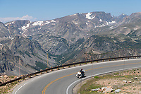 Motorcycle on Beartooth Highway Wyoming