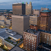 Downtown Kansas City, Missouri, aerial view above 11th Street and Baltimore Avenue.