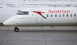 THEMENBILD - ein Flugzeug des Typs Dash-8 Q400 mit der Kennung OE-LGC am Innsbruck Flughafen. Die Tyrolean Airways Zentrale am Innsbrucker Flughafen. Tyrolean Airways gab am heutigen 26. Februar 2018 bei einer Pressekonferenz mit AUA-Chef Kay Kratky einen massiven Stellenabbau aufgrund von Unwirtschaftlichkeit am Standort Innsbruck bekannt. Betroffen sollen 80 der 110 Mitarbeiter der Tyrolean Technik sein. Tyrolean Technik ist Spezialist in Reparatur und Wartung der diese Flugzeugtyps // a Dash-8 Q400 aircraft with registration OE-LGC at Innsbruck Airport. Tyrolean Airways announced on February 26, 2018 at a press conference with AUA CEO Kay Kratky a massive job cuts due to inefficiency at the location Innsbruck. 80 of the 110 employees of Tyrolean Technik are said to be affected. Tyrolean Technik is a specialist in repair and maintenance of this type of aircraft, in Innsbruck, Austria on 2018/02/26. EXPA Pictures © 2018, PhotoCredit: EXPA/ Jakob Gruber