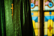 An embroidered gold cross on a chasuble in the sacristy on Saturday, Jan. 16, 2021, at Zion Lutheran Church, Fort Wayne, Indiana. LCMS Communications/Erik M. Lunsford