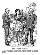 """The Golden Moment. Erin (to Mr. Redmond and Sir Edward Carson). """"Come, my friends, you're both Irishmen; why not bury the hatchet - in the vitals of the common enemy?"""""""