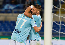 October 22, 2017 - Rome, Italy - Ciro Immobile celebrates after scoring goal 2-0 during the Italian Serie A football match between S.S. Lazio and Cagliari at the Olympic Stadium in Rome, on october 22, 2017. (Credit Image: © Silvia Lore/NurPhoto via ZUMA Press)