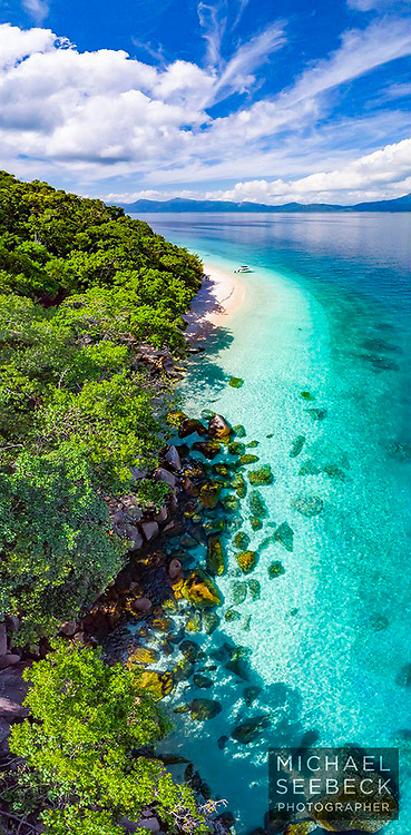 An aerial view looking along Nudey Beach, on Fitzroy Island.<br /> <br /> Limited Edition Print