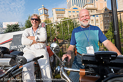 Dan Emerson of Connecticut on his 1912 Excelsior alongside Byrne Bramwell of Ontario, Canada on his 1913 Henderson on the Atlantic City boardwalk at the start of the Motorcycle Cannonball Race of the Century. Stage-1 from Atlantic City, NJ to York, PA. USA. Saturday September 10, 2016. Photography ©2016 Michael Lichter.