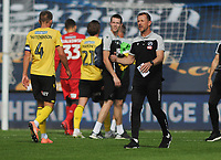 Football - 2019 / 2020 Championship - Queens Park Rangers vs Millwall<br /> <br /> Millwall manager, Gary Rowett consoles his players after  an injury time equaliser was ruled out for off side at the Kiyan Prince Foundation Stadium (Loftus Road).<br /> <br /> COLORSPORT/ANDREW COWIE
