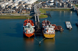Aerial view of moored oil tankers at the Port of Houston.