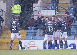 Dundee's Greg Stewart cele scoring their second goal. <br /> Dundee 4 v 1 Motherwell, SPFL Premiership played 10/1/2015 at Dundee's home ground Dens Park.