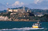 Ferry boat near Alcatraz, San Francisco Bay, San Francisco, California