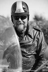 Brent Mayfield on his 1935 Harley-Davidson VJ Antique Motorcycles during Stage 16 (142 miles) of the Motorcycle Cannonball Cross-Country Endurance Run, which on this day ran from Yakima to Tacoma, WA, USA. Sunday, September 21, 2014.  Photography ©2014 Michael Lichter.