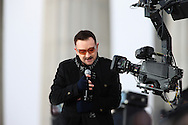 """Bono performs  at the """"We Are One""""  The Obama Inaugural Celebration at the Lincoln Memorial on January 18, 2009.  Photo by Dennis Brack"""