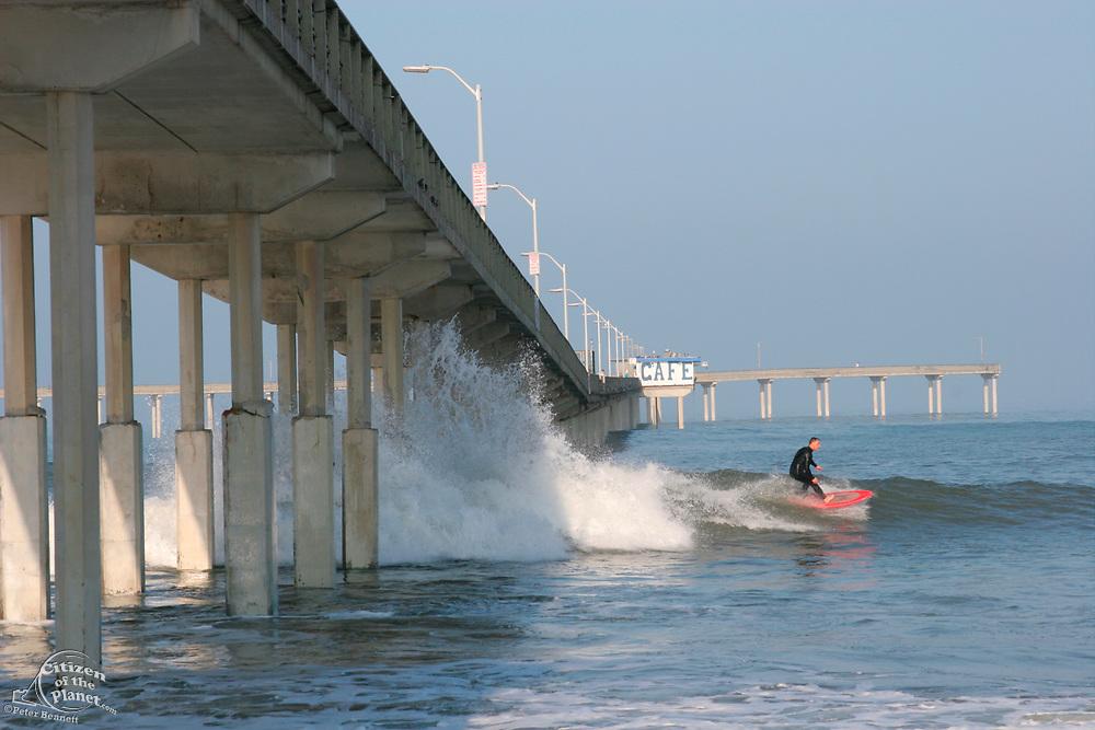 Surfer, Ocean Beach Municipal Pier, San Diego, California (SD)