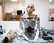 Professor Einstein Robot in the Hanson robotic lab, Dec 2017.<br />SingularityNetis currently working on creating an open source decentralized AI platform running on theblockchain. This network of AIs will provide AI as a service in an unprecedentedly diverse and open way.The first complex AI system to be realized on theSingularityNETwill be an AI brain forSophia Hanson— the most sophisticated humanoid robot ever built. Saudi Arabia granted the status of Citizen to Sophia, that became the first robot to be recognized as a citizen.The new version of Sophia's mind, currently under development bySingularityNETin conjunction with Hong Kong firm Hanson Robotics, will be a core node of theblockchain. Her intelligence will be plugged in the network for everyone's benefit and will also receive input and wisdom from everyone's algorithms. Sophia's mind will be constantly fed with new content fromSingularityNET, while at the same time helping to power the network with its human-like intelligence.<br /> @Giulio Di Sturco