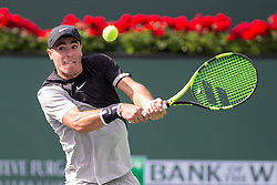 March 09, 2018: Ernesto Escobedo (USA) hits a backhand as he defeated Frances Tiafoe (USA) 7-5, 6-3 at the BNP Paribas Open played at the Indian Wells Tennis Garden in Indian Wells, California. ©Mal Taam/TennisClix/CSM/Sipa USA(Credit Image: © Mal Taam/CSM/Sipa USA)
