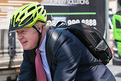 © Licensed to London News Pictures. 15/05/2019. London, UK. BORIS JOHNSON MP is seen riding his bike in to the House of Parliament in Westminster, London. Government has announced that MPs will get another chance to vote on Theresa May's Brexit Bill in early June, after EU parliament elections. Photo credit: George Cracknell Wright/LNP