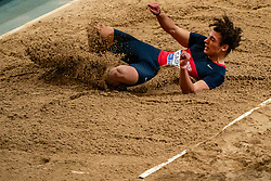 David Cairo in action on the long jump during AA Drink Dutch Athletics Championship Indoor on 21 February 2021 in Apeldoorn.