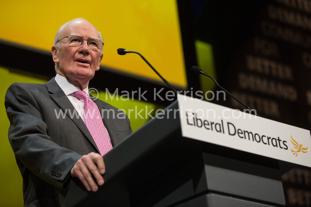 Bournemouth, UK. 15 September, 2019. Menzies Campbell, former Leader of the Liberal Democrats, speaks on the Stop Brexit motion during the Liberal Democrat Autumn Conference. Following a vote won by an overwhelming majority, the Liberal Democrats pledged to cancel Brexit if they win power at the next general election. This marks a shift in policy from their previous backing for a People's Vote. Credit: Mark Kerrison/Alamy Live News