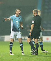Tom Aldred of Blackpool has words with the referee<br /> <br /> Photographer James Williamson/CameraSport<br /> <br /> The EFL Sky Bet League Two - Mansfield Town v Blackpool - Tuesday 22nd November 2016 - One Call Stadium - Mansfield<br /> <br /> World Copyright © 2016 CameraSport. All rights reserved. 43 Linden Ave. Countesthorpe. Leicester. England. LE8 5PG - Tel: +44 (0) 116 277 4147 - admin@camerasport.com - www.camerasport.com