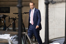 © Licensed to London News Pictures. 16/06/2021. London, UK. Health Secretary MATT HANCOCK walks in The Houses of Parliament. Earlier today former chief advisor to number 10, Dominic Cummings, released a series of private WhatsApp conversations with Prime Minister Boris Johnson, in which the PM was critical of the health secretary.  Photo credit: George Cracknell Wright/LNP