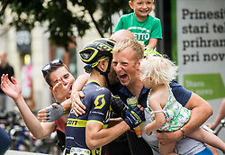 Winner Luka Mezgec (SLO) of Orica - Scott celebrates with fans after the Stage 2 of 24th Tour of Slovenia 2017 / Tour de Slovenie from Ljubljana to Ljubljana (169,9 km) cycling race on June 16, 2017 in Slovenia. Photo by Vid Ponikvar / Sportida