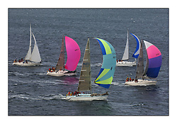 Day 2 of the Bell Lawrie Scottish Series with wild conditions on Loch Fyne for all fleets. Exhilarating and testing racing for Boats and crew...Class 6 and Class 7.  1427C Guilty followed by 9797C Piecemaker and GBR3944 Siglet.