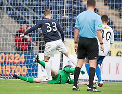 Morton's keeper Derek Gaston saves Falkirk's Rory Loy follow up after his penalty miss.<br /> halt time ; Falkirk 0 v 1 Morton, Scottish Championship game today at The Falkirk Stadium.<br /> © Michael Schofield.