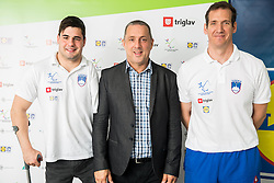 Darko Đurić, Slovenian paralympic swimmer, Damijan Lazar of NPC  and coach Alen Kramar during Media day of the National Paralympic Committee (NPC) of Slovenia, on April 26, 2016 in Olympic pool Radovljica, Slovenia. Photo by Vid Ponikvar / Sportida