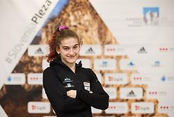 Lucija Tarkus at press conference of Slovenian National Climbing team before new season, on March 23, 2021 in Bolder Scena, Ljubljana, Slovenia. Photo by Vid Ponikvar / Sportida