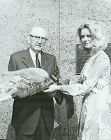 """1972 C.E. Toberman & the """"Hollywood Princess"""" during the dedication of a plaque honoring C.E. as """"Mr. Hollywood"""""""