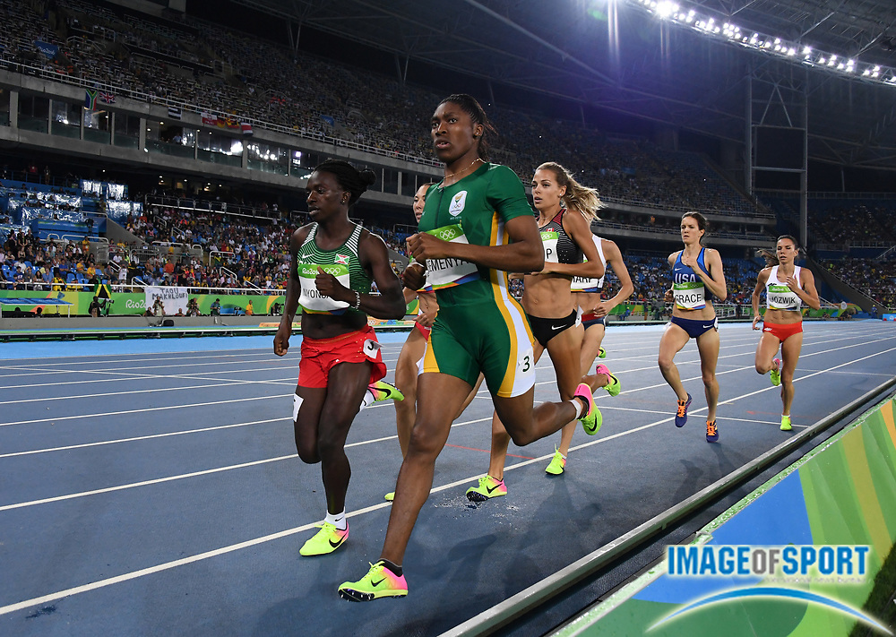 Aug 18, 2016; Rio de Janeiro, Brazil; Caster Semenya (RSA) and Francine Niyonsaba (BDI) place first and second in the women's 800m in 1:55.28 and 1:56.49 during the 2016 Rio Olympics at Estadio Olimpico Joao Havelange. <br /> <br /> *