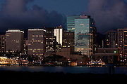 Honolulu harbor and skyline - night