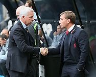 Alan Pardew manager of Newcastle United and Brendan Rodgers manager of Liverpool shake hands - Barclays Premier League - Newcastle Utd vs Liverpool - St James' Park Stadium - Newcastle Upon Tyne - England - 1st November 2014  - Picture Simon Bellis/Sportimage