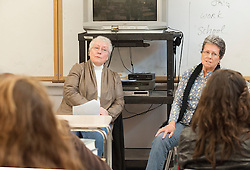 """Sisters Claudette Saunders and Lorraine Benoit engage in a dialogue about the book """"Ora's Boy"""" with students at Laconia High School on Thursday, December 20, 2012.  (Alan MacRae/for the Laconia Daily Sun)"""