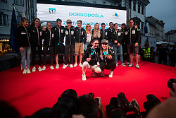 Mia Krampl and Janja Garnbret posing for a photo infront of team mates during PZS reception of Slovenian national climbing team after IFSC Climbing World Championships in Hachioji (JPN) 2019, on August 23, 2019 at Ministry of Education, Science and Sport, Ljubljana, Slovenia. Photo by Grega Valancic / Sportida