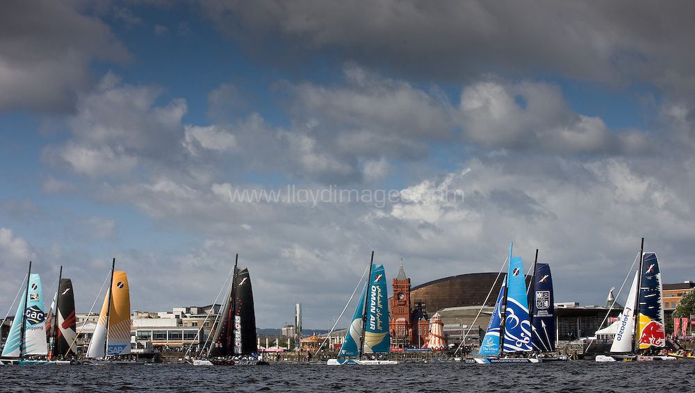 Act 5, Cardiff, Extreme Sailing Series. Day 01. Images showing Oman Air, skippered by Morgan Larson (USA), with tactician Will Howden (GBR), mainsail trimmer Charlie Ogletree (USA), headsail trimmer Andy Maloney (NZL) and bowman Nasser Al Mashari (OMA). .Cardiff, Wales. ..Credit: Lloyd Images