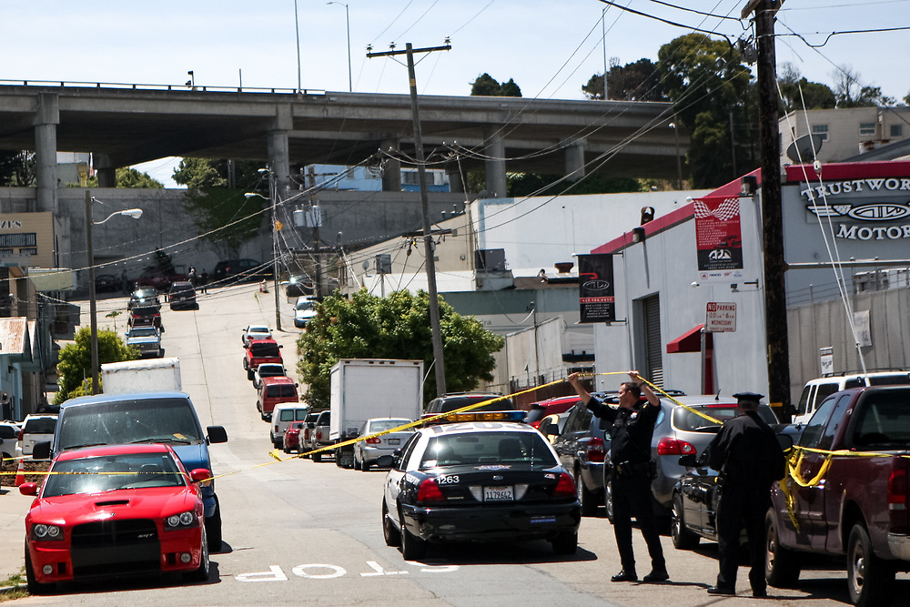 Officers block off a street where Jessica Williams, 29, was fatally shot by SFPD in the Bayview District of San Francisco, Calif., Thursday, May 19, 2016.<br /> <br /> SFPD Police Chief Greg Suhr resigned later that afternoon following the Williams' death.