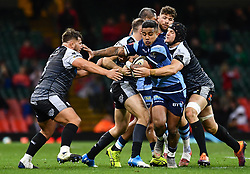 27th April 2019 , Principality Stadium , Cardiff, Wales ; Guinness pro 14's, Round 21, Cardiff Blues Vs Ospreys ; Rey Lee-Lo of Cardiff Blues is tackled by James King of Ospreys<br /> <br /> Credit :  Craig Thomas/Replay Images