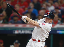 October 5, 2017 - Cleveland, OH, UKR - The Cleveland Indians' Jay Bruce drives in Jose Ramirez with a sacrifice fly in the fifth inning against the New York Yankees in Game 1 of the American League Division Series on Thursday, Oct. 5, 2017, at Progressive Field in Cleveland. (Credit Image: © Leah Klafczynski/TNS via ZUMA Wire)