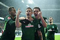 2:0 Jubel v.l. Theodor Gebre Selassie, Torschuetze Max Kruse, Milos Veljkovic (Bremen)<br />Bremen, 19.11.2017, Fussball Bundesliga, SV Werder Bremen - Hannover 96<br /> <br /> Norway only