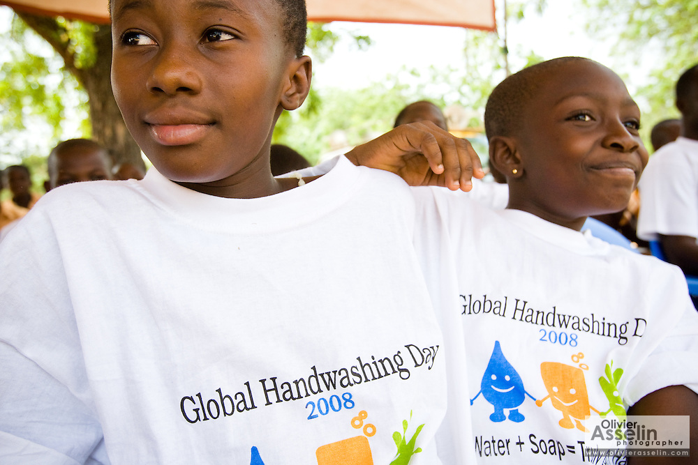Children wearing t-shirts promoting hand-washing.Northern Ghana, Wednesday November 12, 2008.