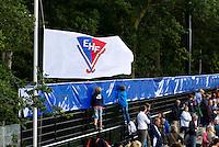 DEN BOSCH -  EHF vlag halfstoktijdens de wedstrijd tussen de mannen van Jong Oranje  en Jong Frankrijk, tijdens het Europees Kampioenschap Hockey -21. ANP KOEN SUYK
