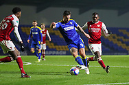 AFC Wimbledon striker Ollie Palmer (9) dribbling in box during the EFL Trophy match between AFC Wimbledon and U21 Arsenal at Plough Lane, London, United Kingdom on 8 December 2020.