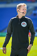 Today's referee Gavin Ward during the pre-match warm-up before the EFL Sky Bet Championship match between Cardiff City and Nottingham Forest at the Cardiff City Stadium, Cardiff, Wales on 2 April 2021.