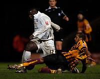 Photo: Jed Wee/Sportsbeat Images.<br /> Bradford City v Hereford United. Coca Cola League 2. 29/12/2007.<br /> <br /> Hereford's Trevor Benjamin (L) is tackled by Bradford's Matthew Clarke.