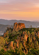 Rock Formations at Dawn Looking North from High Peaks Area, Pinnacles National Park, California