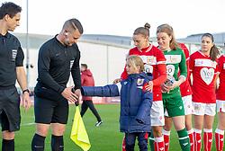 Loren Dykes of Bristol City presents her mascot to the referee - Mandatory by-line: Paul Knight/JMP - 28/10/2018 - FOOTBALL - Stoke Gifford Stadium - Bristol, England - Bristol City Women v Arsenal Women - FA Women's Super League